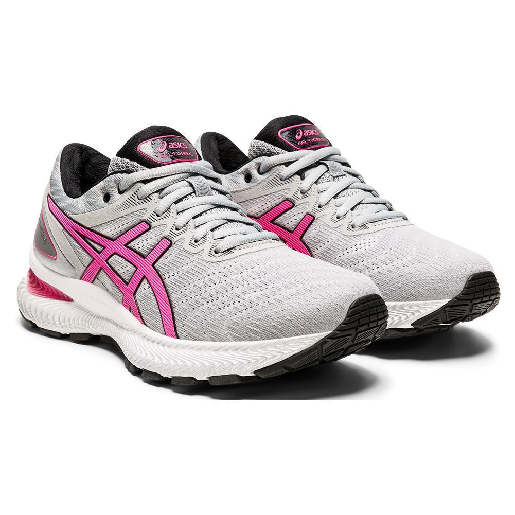 Women's Gel- Nimbus 22 Running Shoes Piedmont Gray And Hot Pink