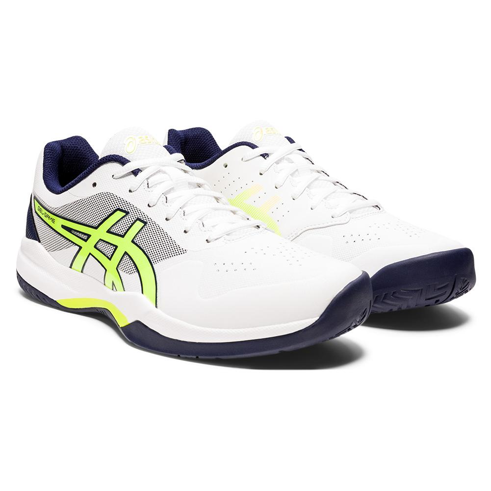 Men's Gel- Game 7 Tennis Shoes White And Safety Yellow