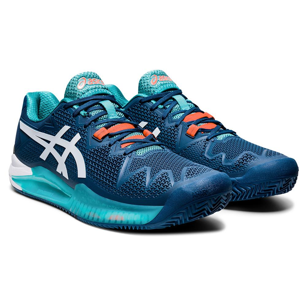 Men's Gel- Resolution 8 Clay Tennis Shoes Mako Blue And White