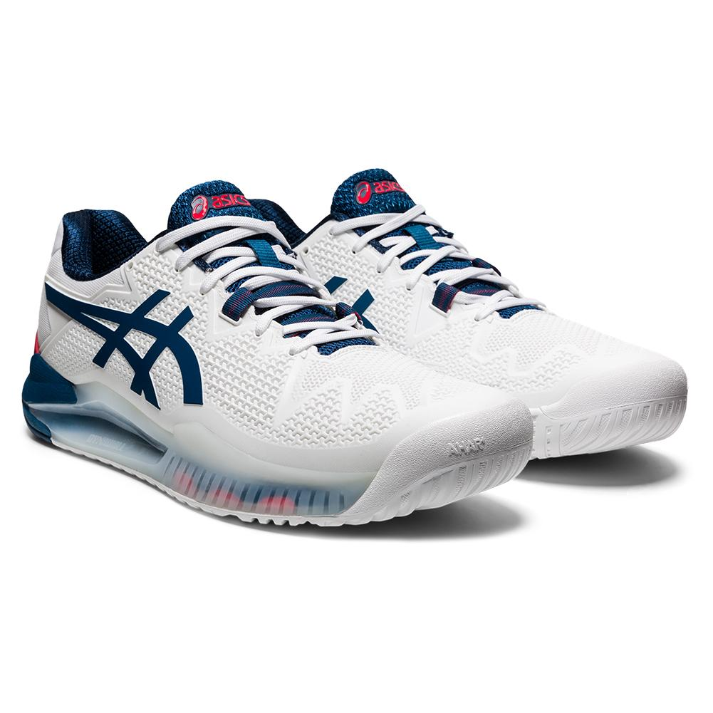 Men's Gel- Resolution 8 Tennis Shoes White And Mako Blue