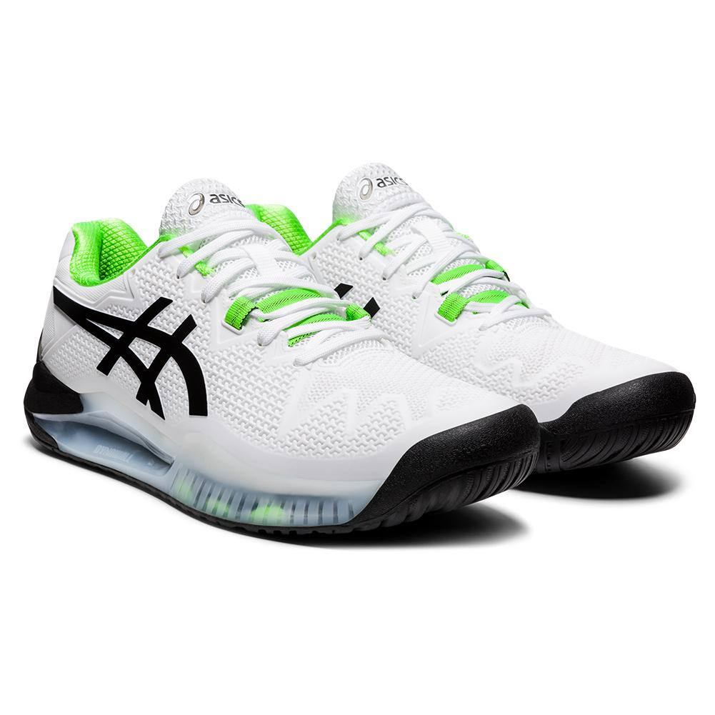 Men's Gel- Resolution 8 Tennis Shoes White And Green Gecko