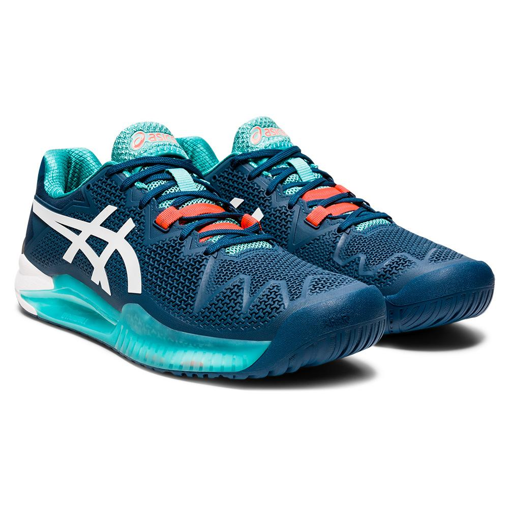 Men's Gel- Resolution 8 Tennis Shoes Mako Blue And White