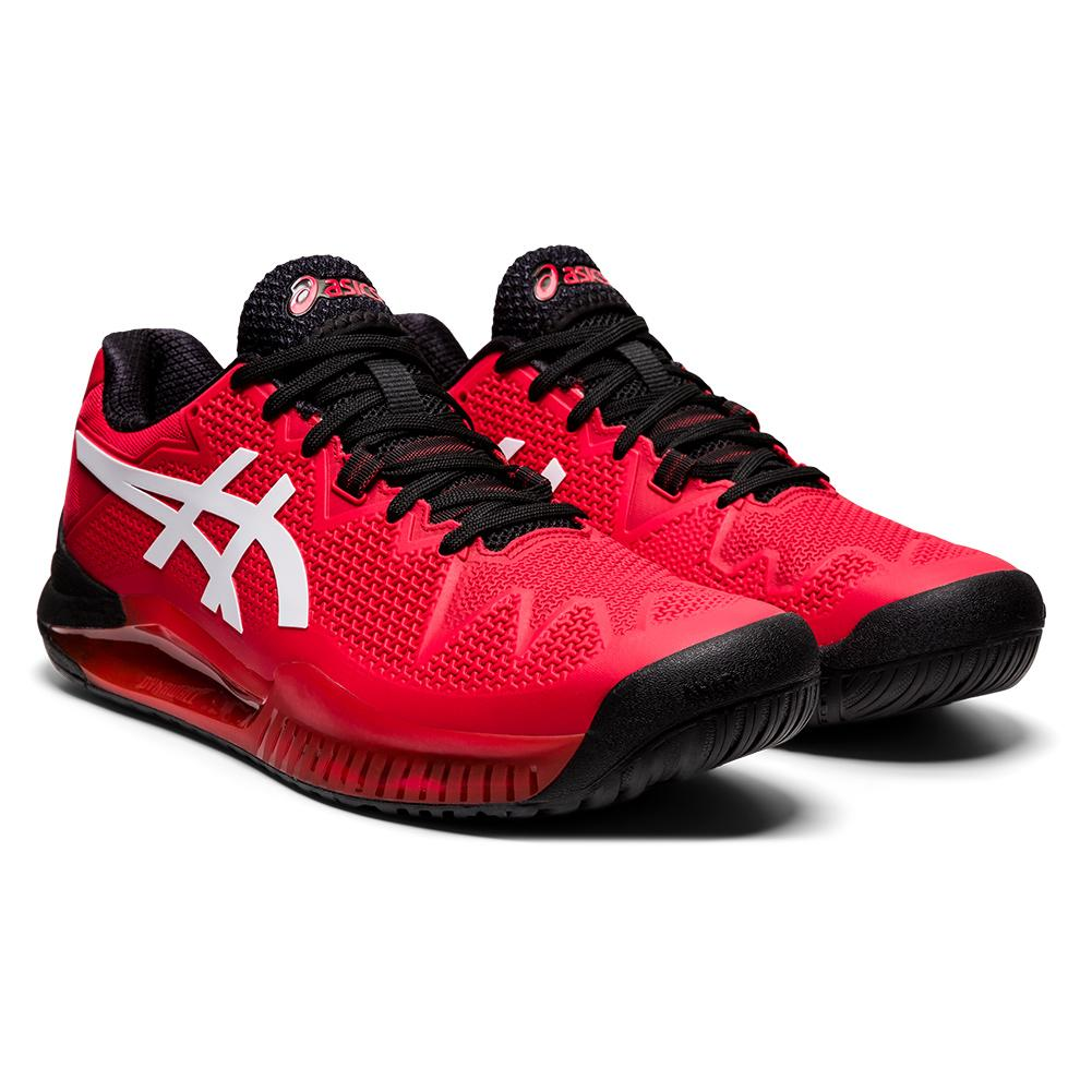 Men's Gel- Resolution 8 Tennis Shoes Electric Red And White