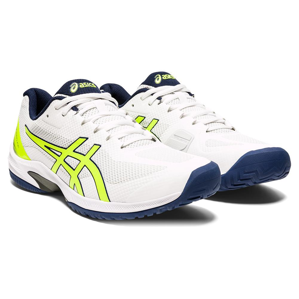 Men's Court Speed Ff Tennis Shoes White And Safety Yellow