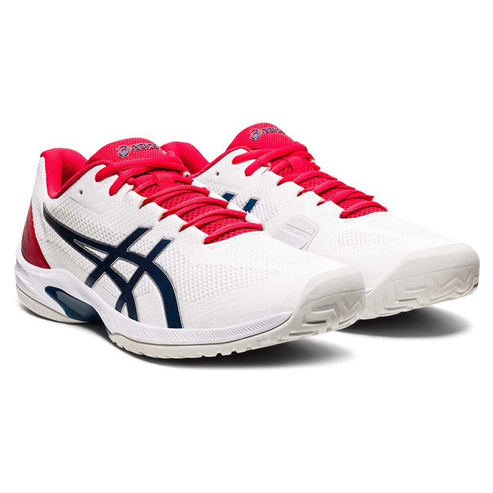 Men's Court Speed Ff Tennis Shoes White And Mako Blue
