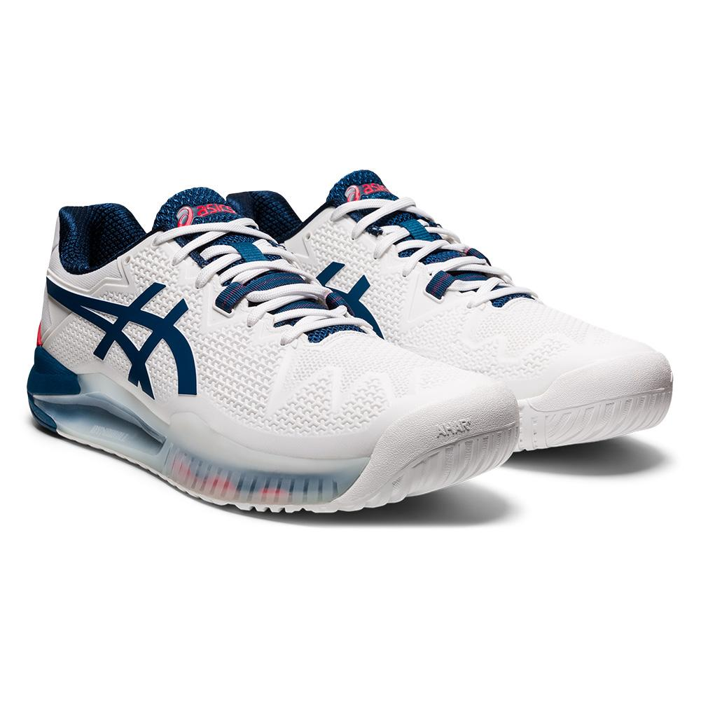 Men's Gel- Resolution 8 Wide Tennis Shoes White And Mako Blue