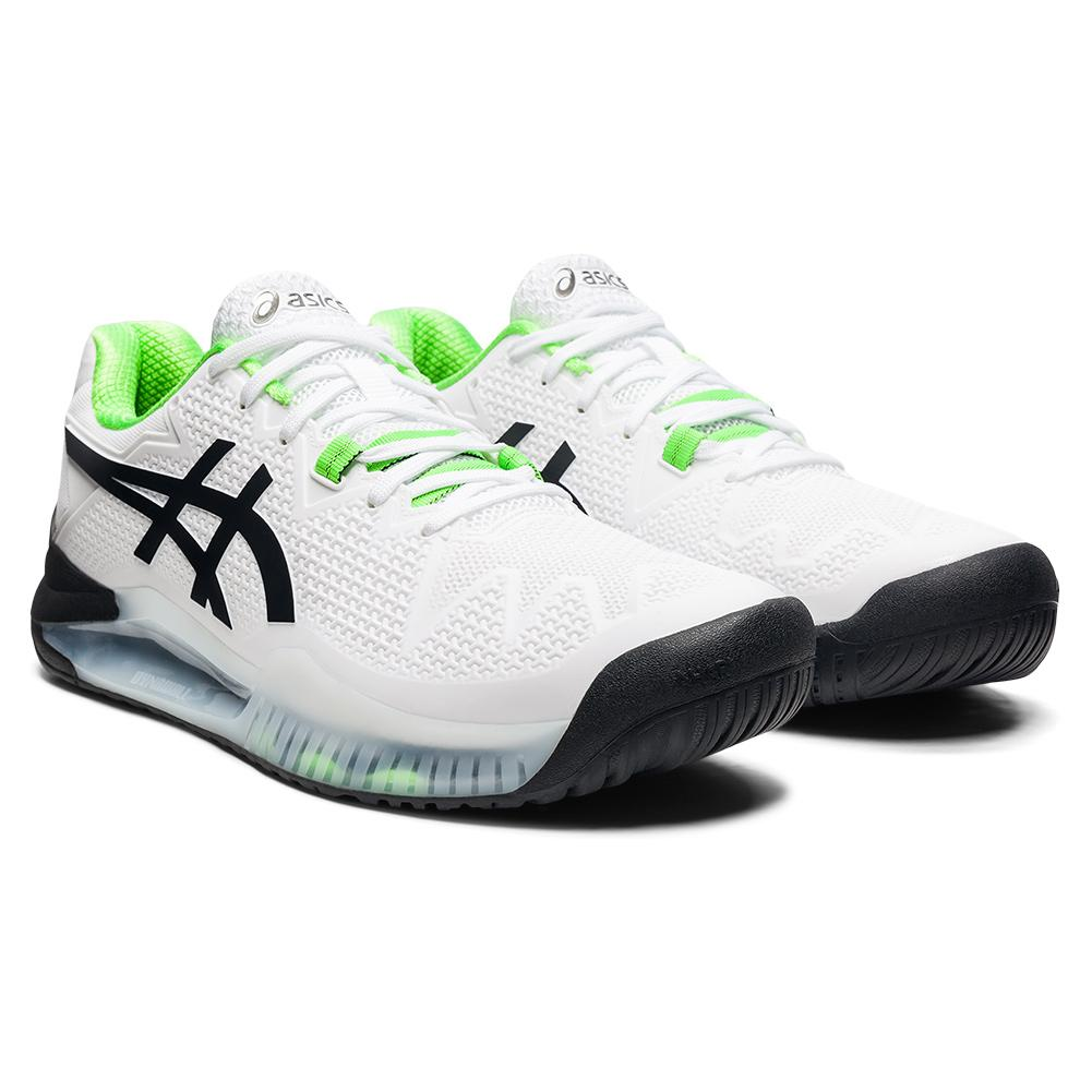 Men's Gel- Resolution 8 Wide Tennis Shoes White And Green Gecko