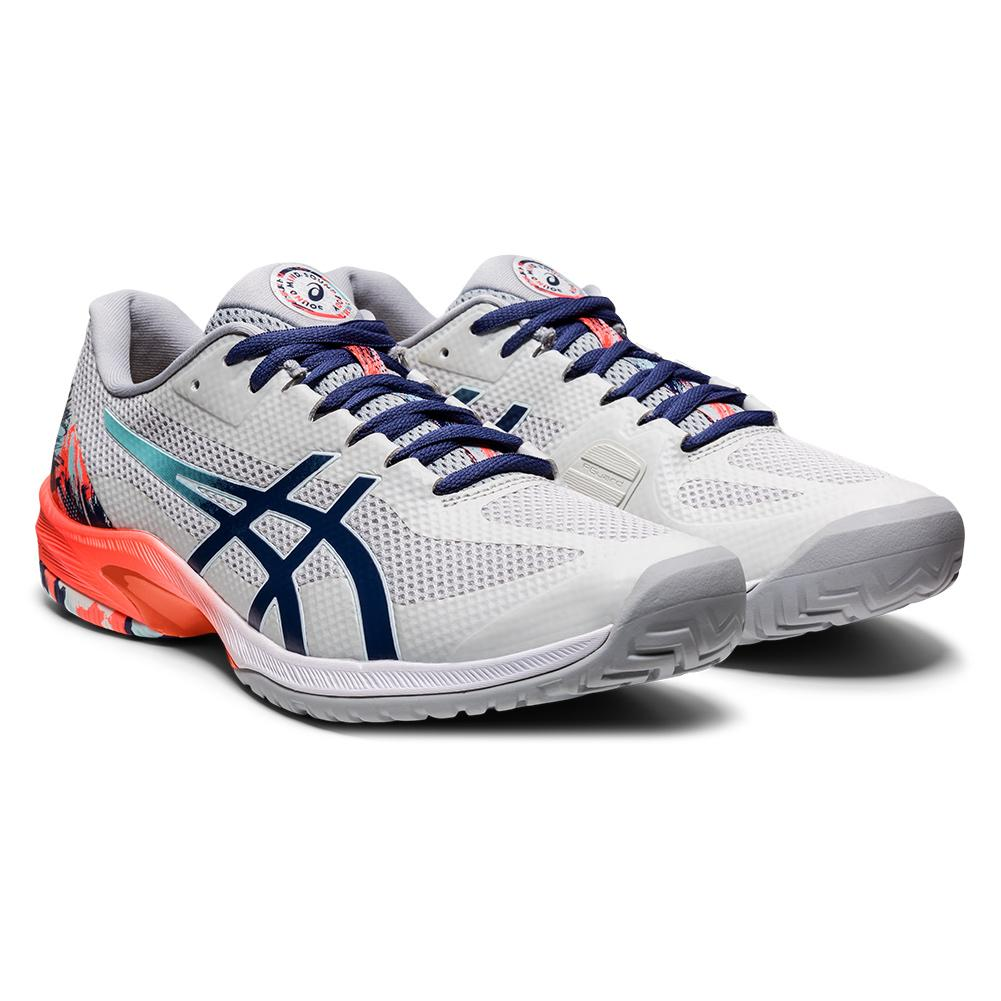 Men's Court Speed Ff Tennis Shoes Glacier Grey And Sunrise Red