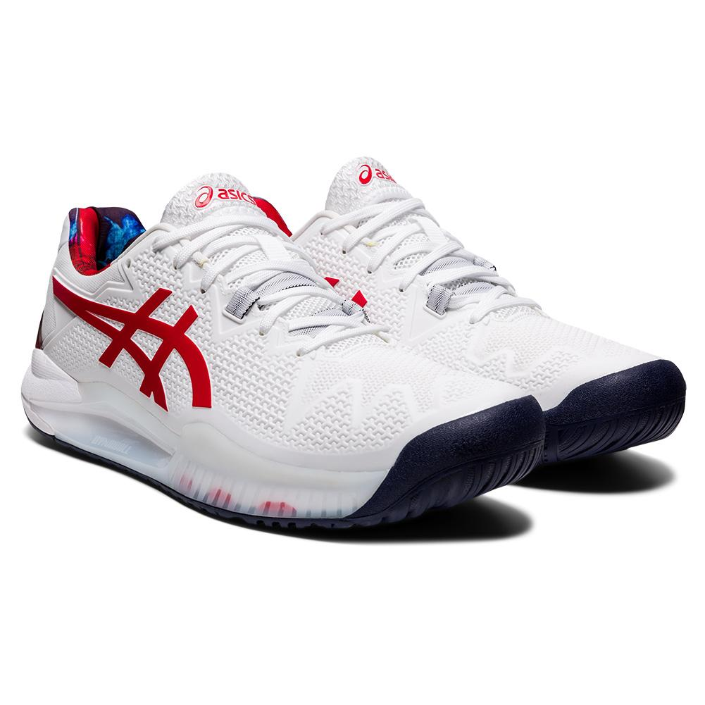 Men's Gel- Resolution 8 Le Tennis Shoes White And Classic Red