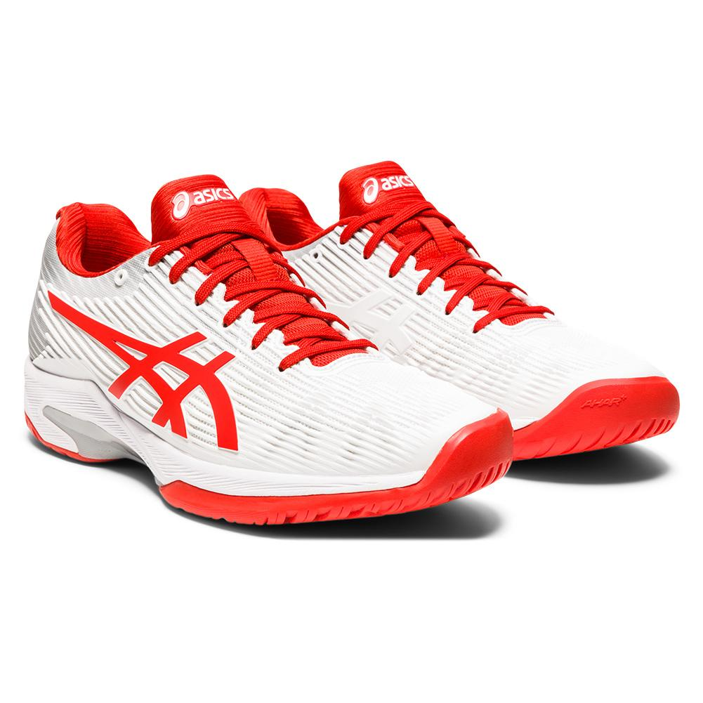 Women's Solution Speed Ff Tennis Shoes White And Fiery Red