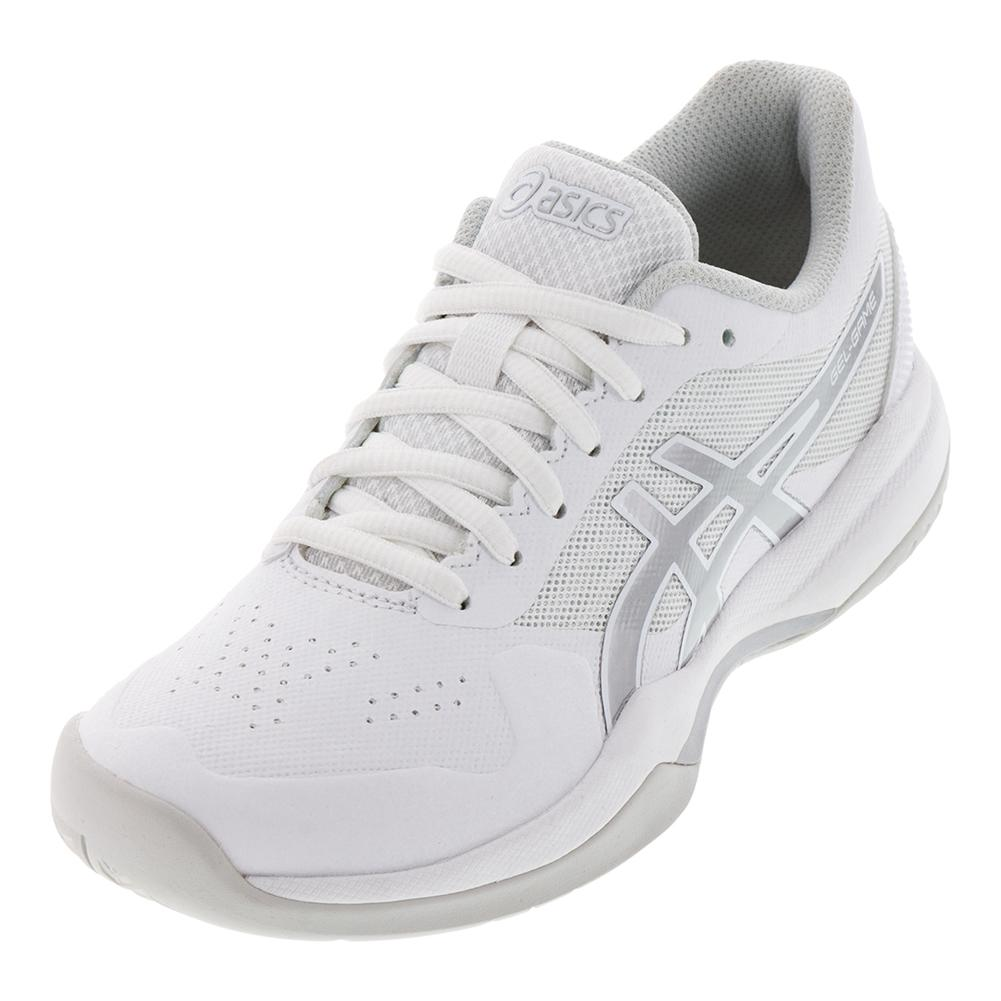 a14f4afc8201 ASICS Women`s Gel-Game 7 Tennis Shoes in White and Silver | Tennis ...