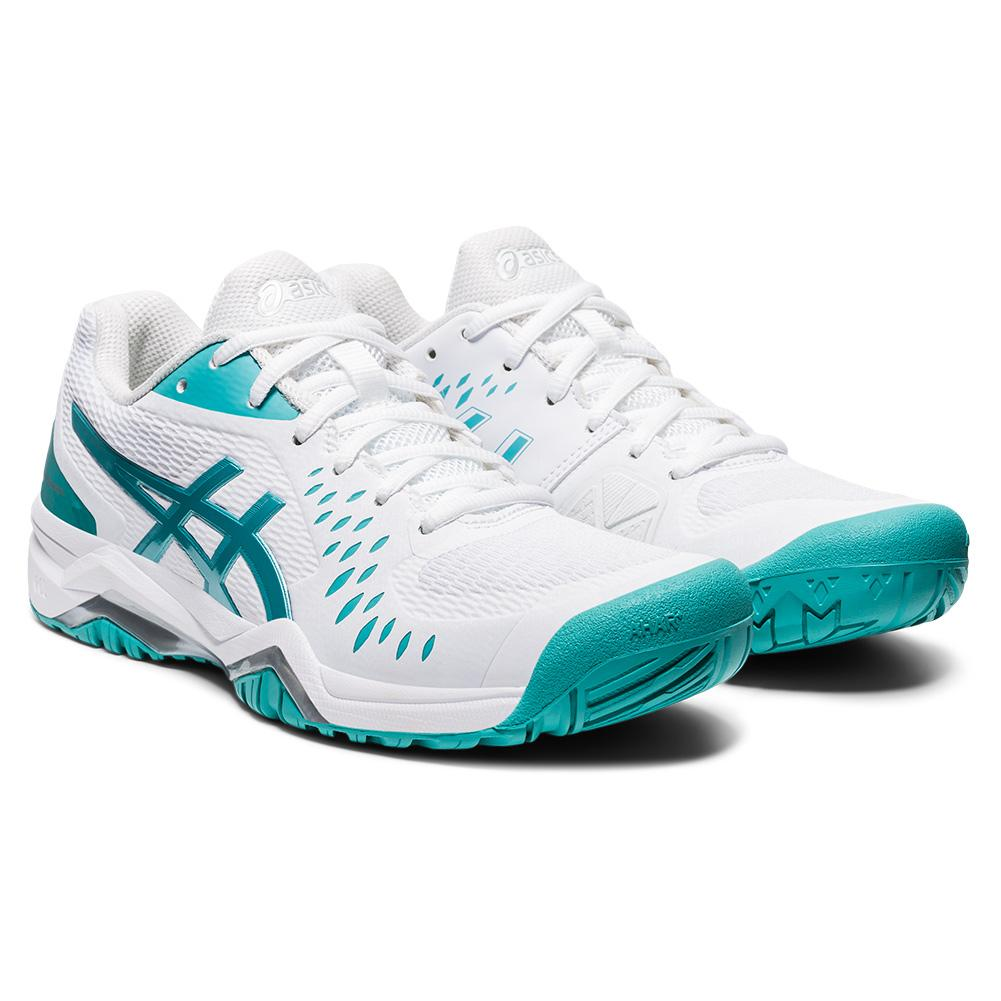 Women's Gel- Challenger 12 Tennis Shoes White And Techno Cyan