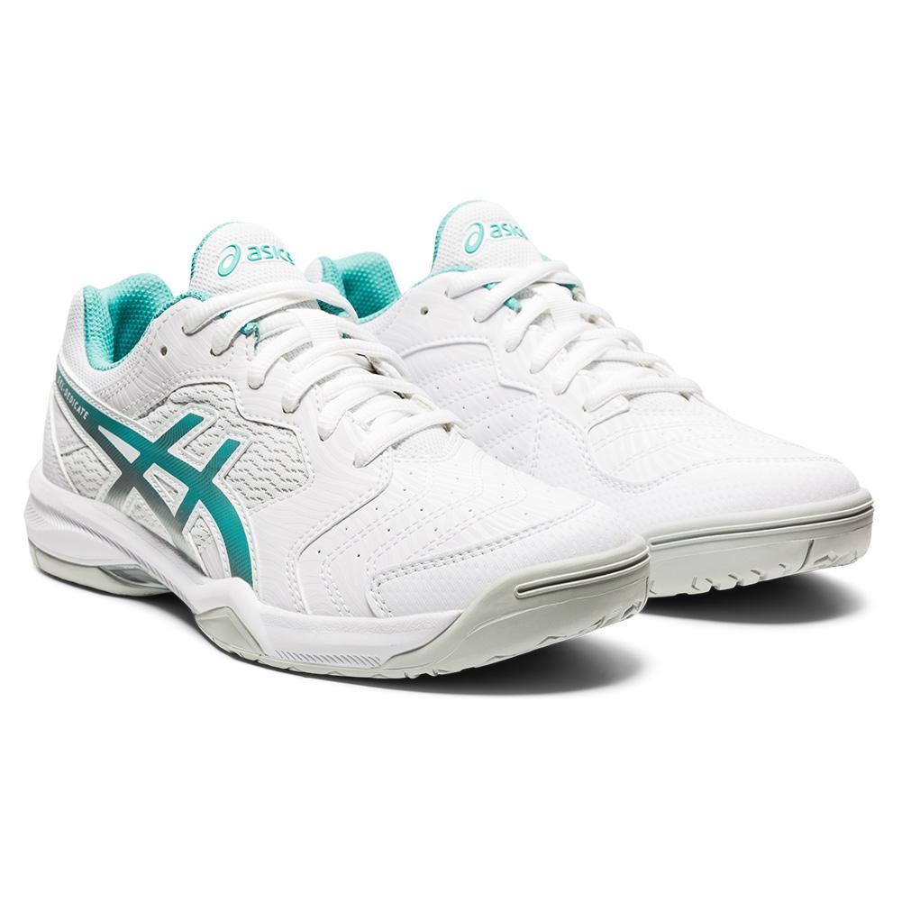 Women's Gel- Dedicate 6 Tennis Shoes White And Techno Cyan