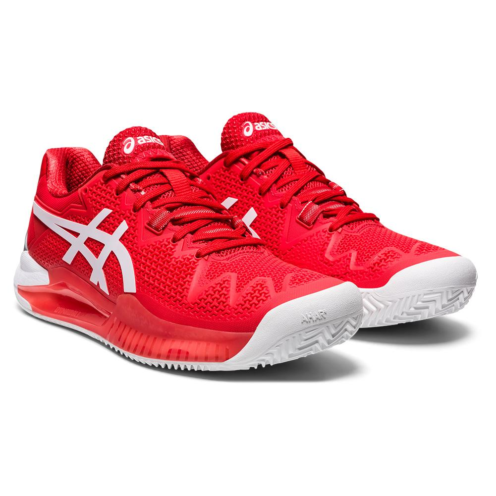 Women's Gel- Resolution 8 Clay Tennis Shoes Fiery Red And White