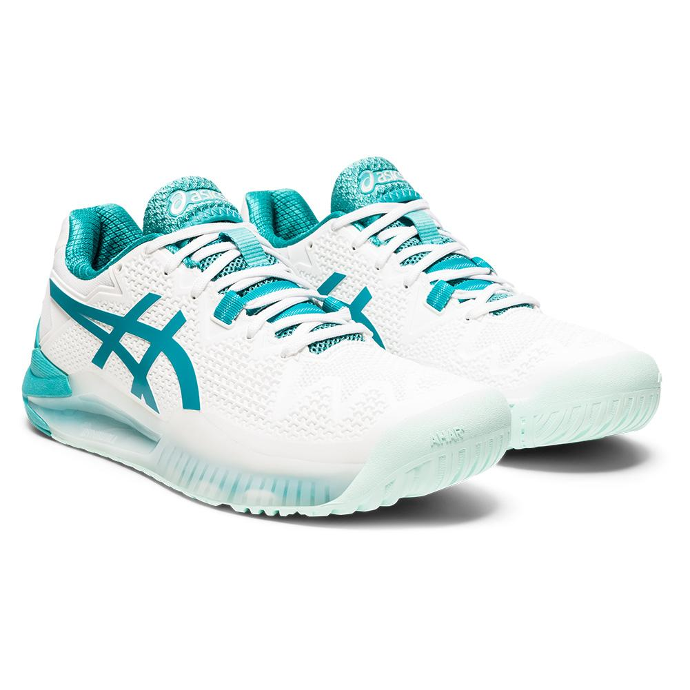 Women's Gel- Resolution 8 Tennis Shoes White And Lagoon