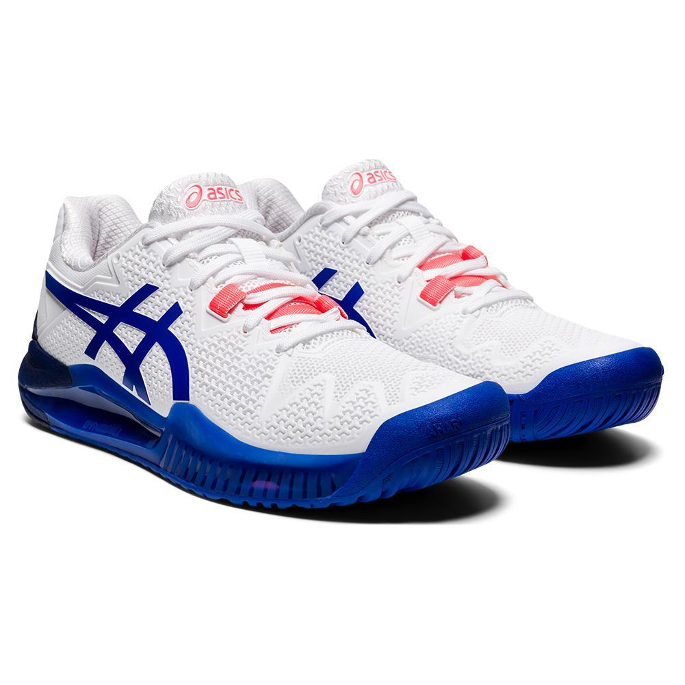 Women's Gel- Resolution 8 Tennis Shoes White And Lapis Lazuli Blue