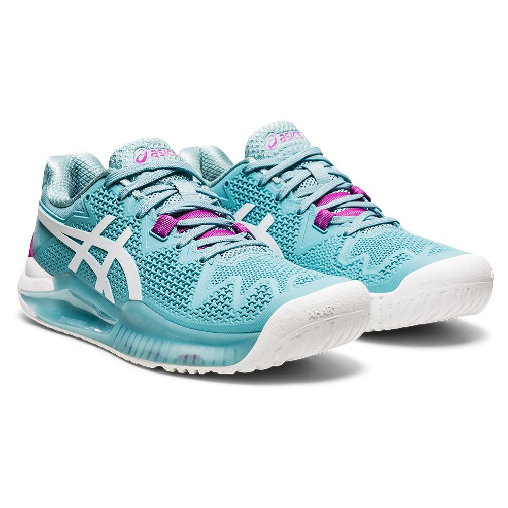 Women's Gel- Resolution 8 Tennis Shoes Smoke Blue And White