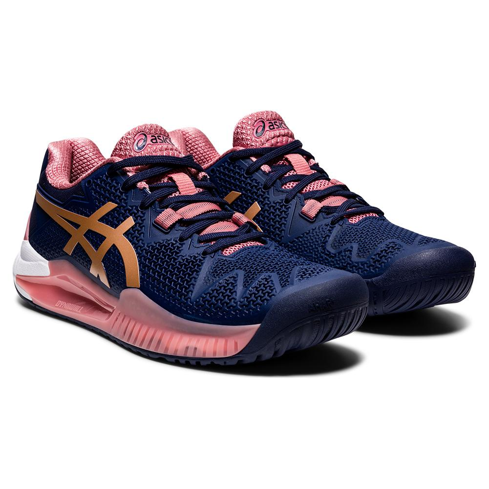 Women's Gel- Resolution 8 Tennis Shoes Peacoat And Rose Gold