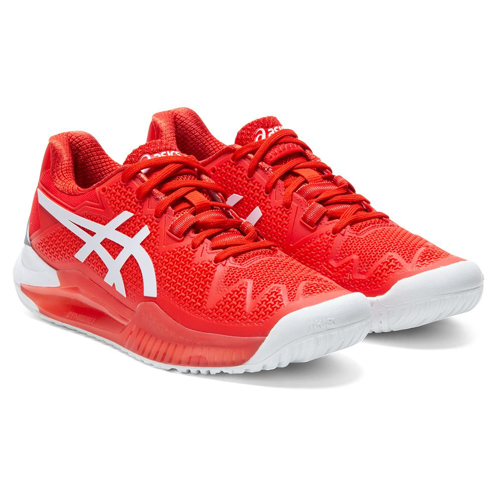 Women's Gel- Resolution 8 Tennis Shoes Fiery Red And White