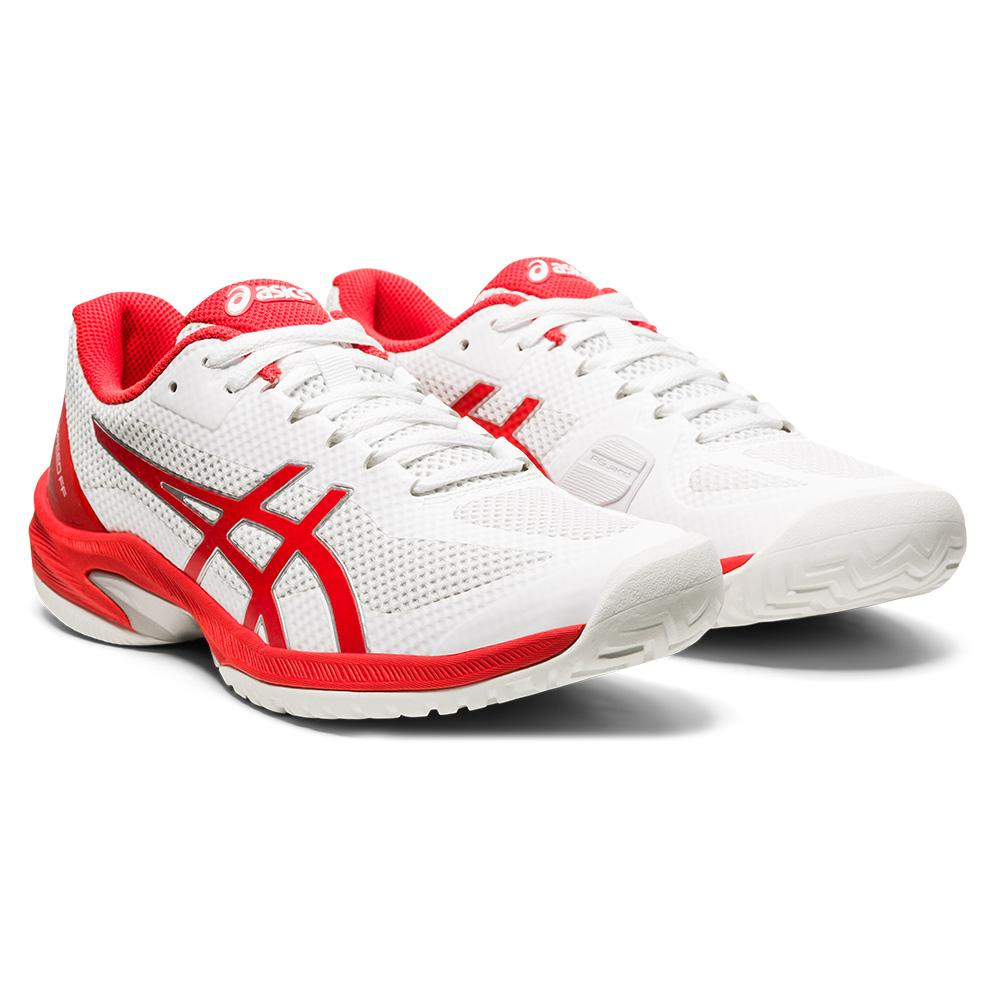 Women's Court Speed Ff Tennis Shoes White And Fiery Red