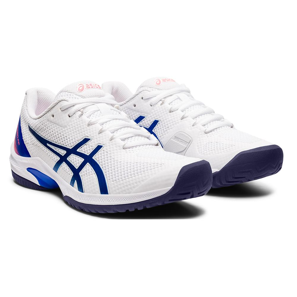 Women's Court Speed Ff Tennis Shoes White And Lapis Lazuli Blue