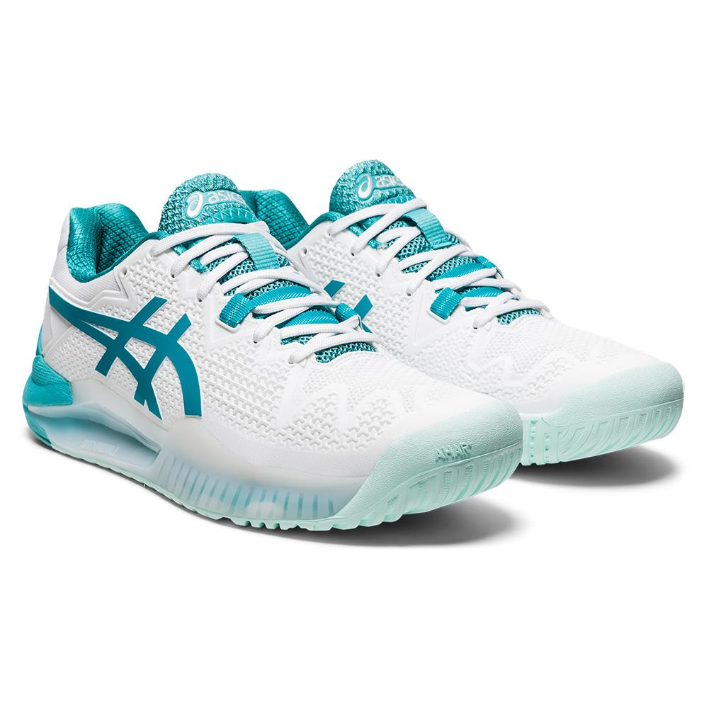 Women's Gel- Resolution Wide 8 Tennis Shoes White And Lagoon