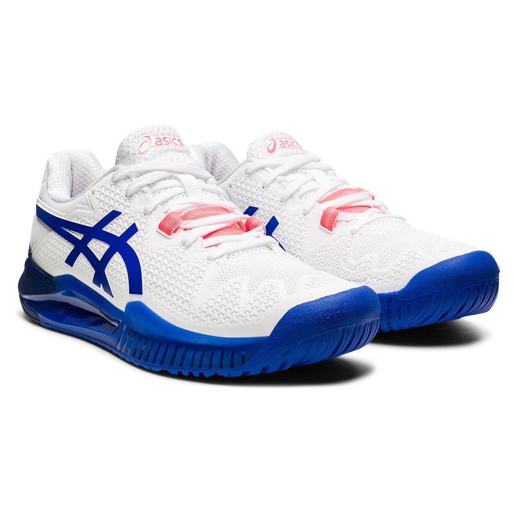 Women's Gel- Resolution 8 Wide Tennis Shoes White And Lapis Lazuli Blue