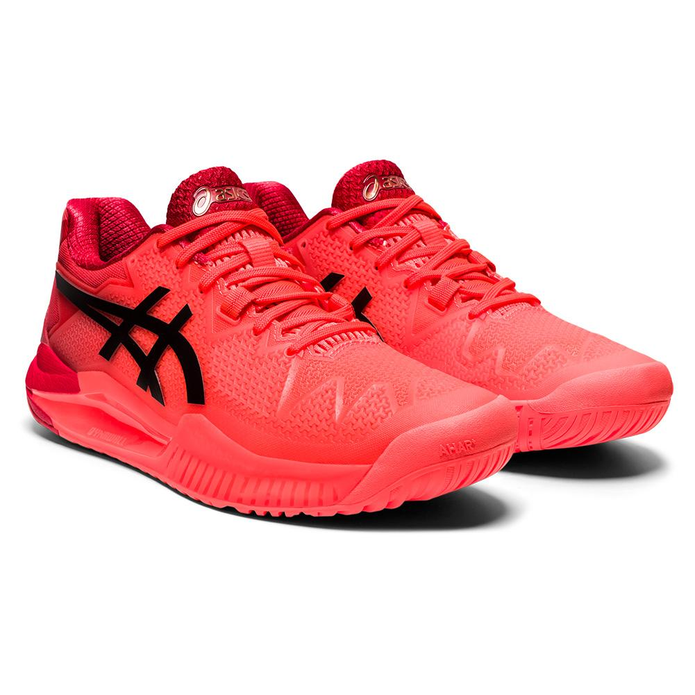 Women's Gel- Resolution 8 Tokyo Tennis Shoes Sunrise Red And Eclipse Black