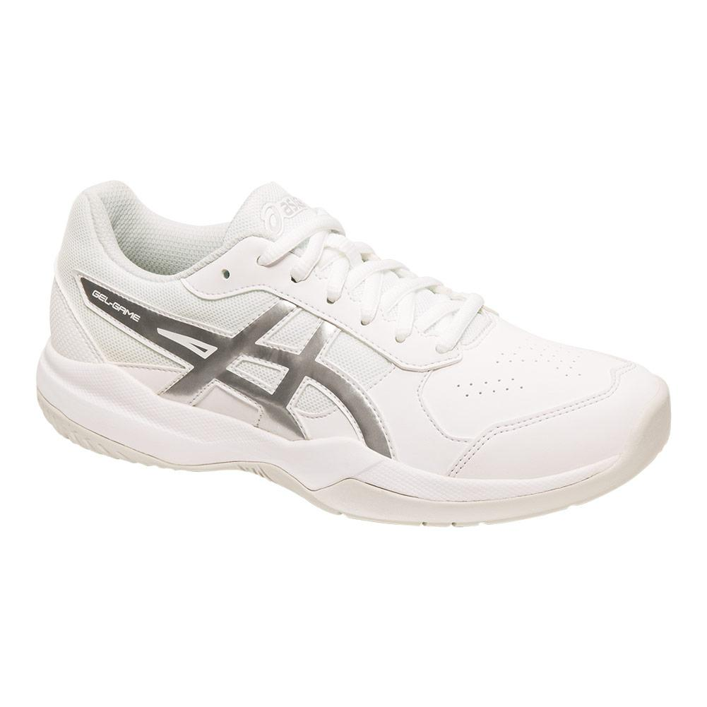 Juniors ` Gel- Game 7 Gs Tennis Shoes White And Silver
