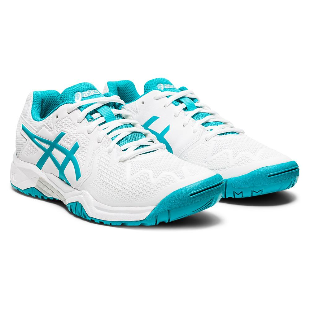Juniors ` Gel- Resolution 8 Gs Tennis Shoes White And Lagoon