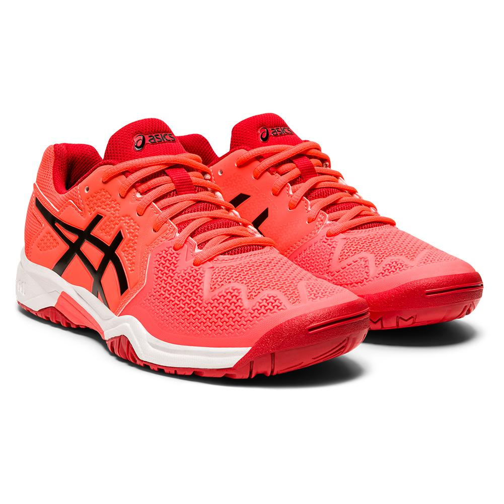 Juniors ` Gel- Resolution 8 Gs Tennis Shoes Sunrise Red And Black