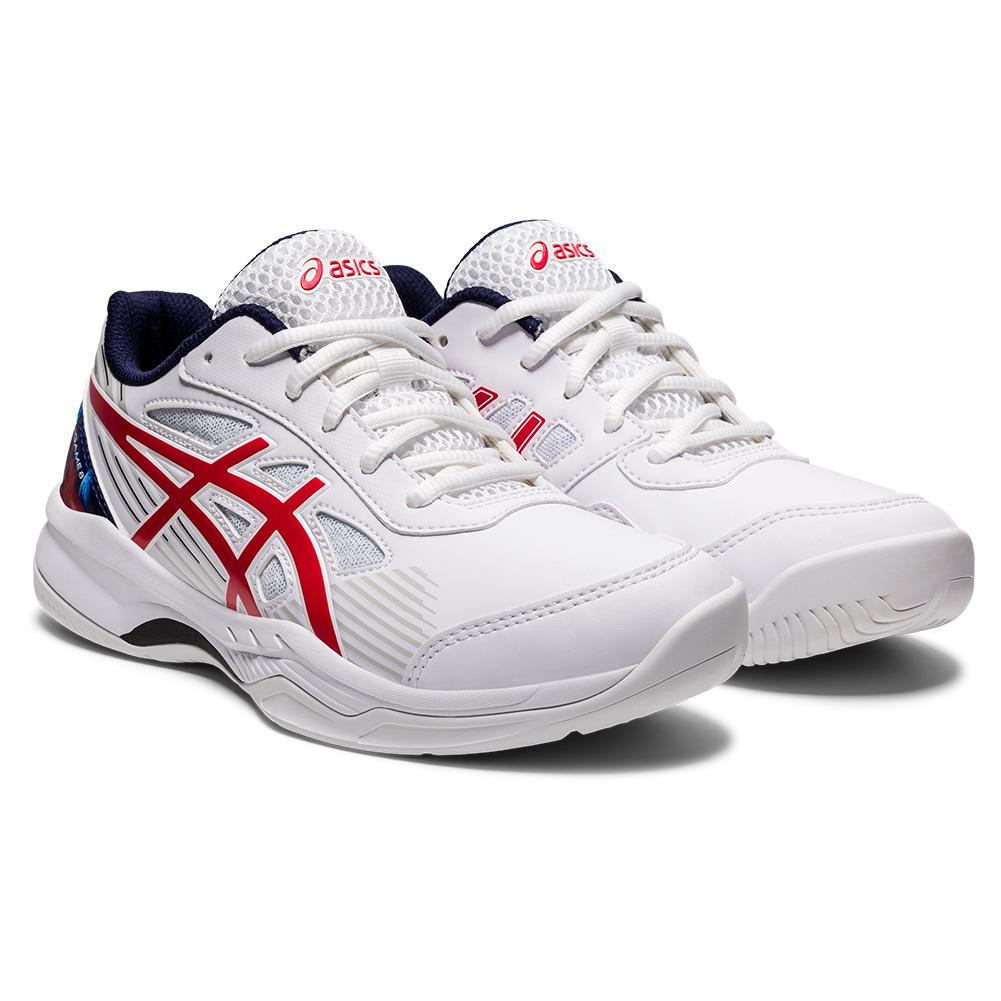 Juniors ` Gel- Game 8 Gs Le Tennis Shoes White And Classic Red
