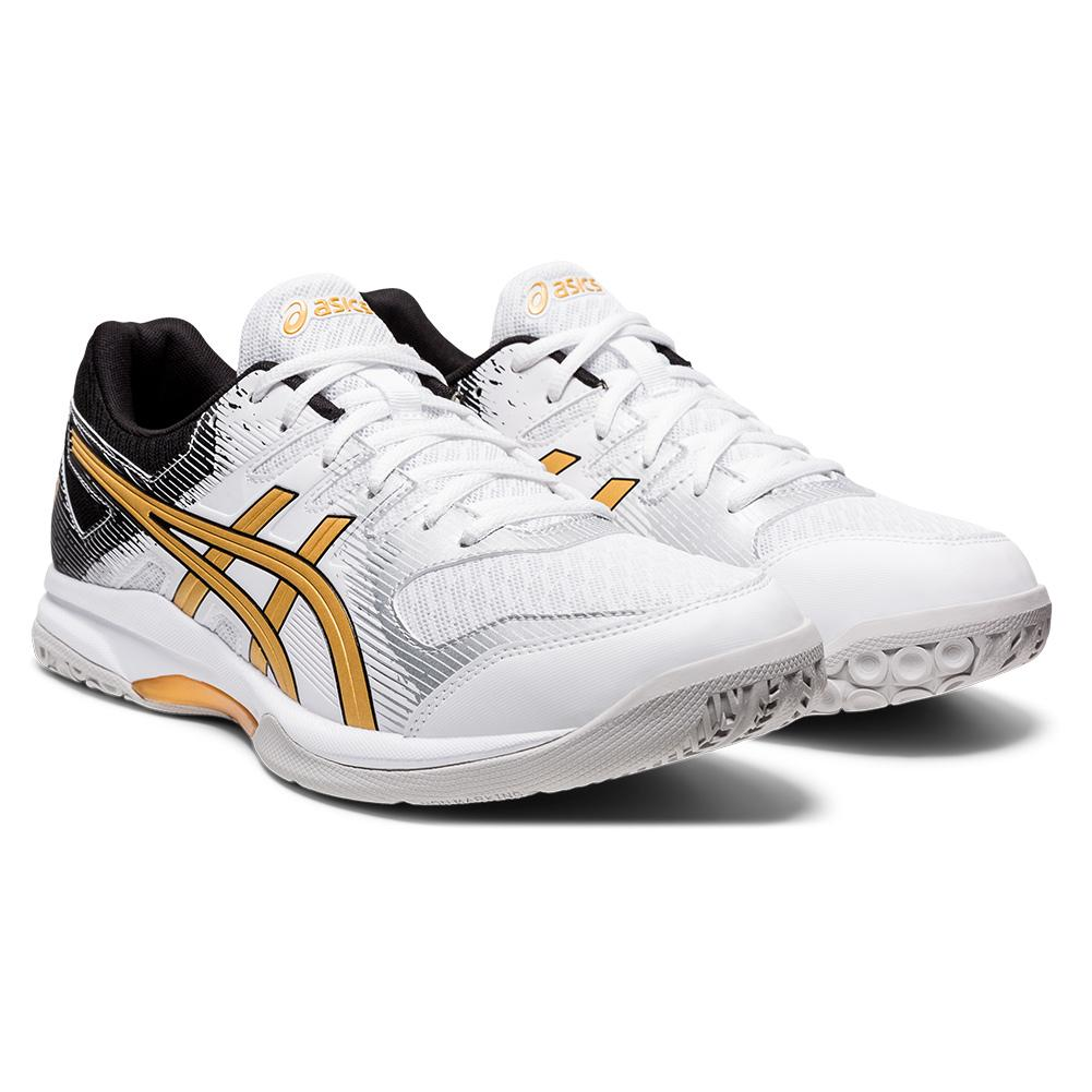 Men's Gel- Rocket 9 Squash Shoes White And Pure Gold