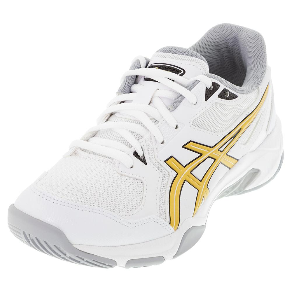 Men's Gel- Rocket 10 Indoor Sport Shoes White And Pure Gold