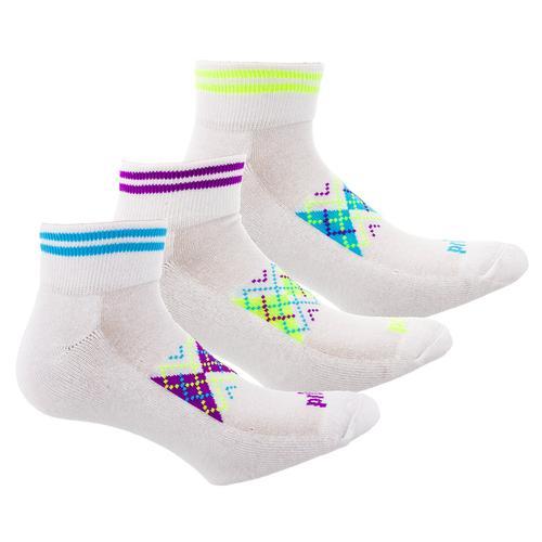 Women's Sport Quarter Argyle Tennis Socks 3 Pack Assorted