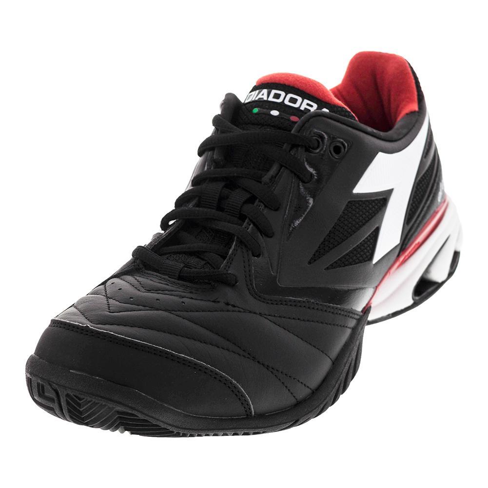 Men's S Star K Viii Ag Tennis Shoes Jet Black And White