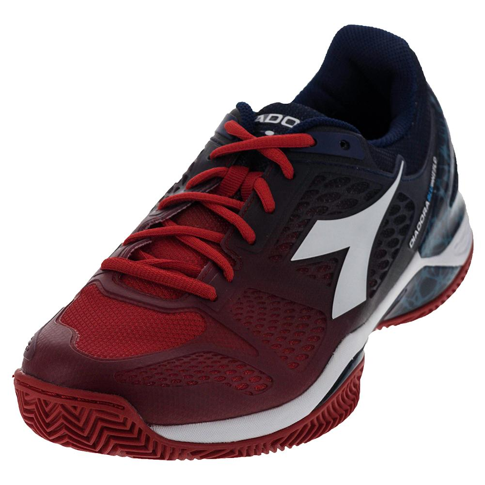 Men's S Blueshield Clay Tennis Shoes Fiery Red And Blue Estate