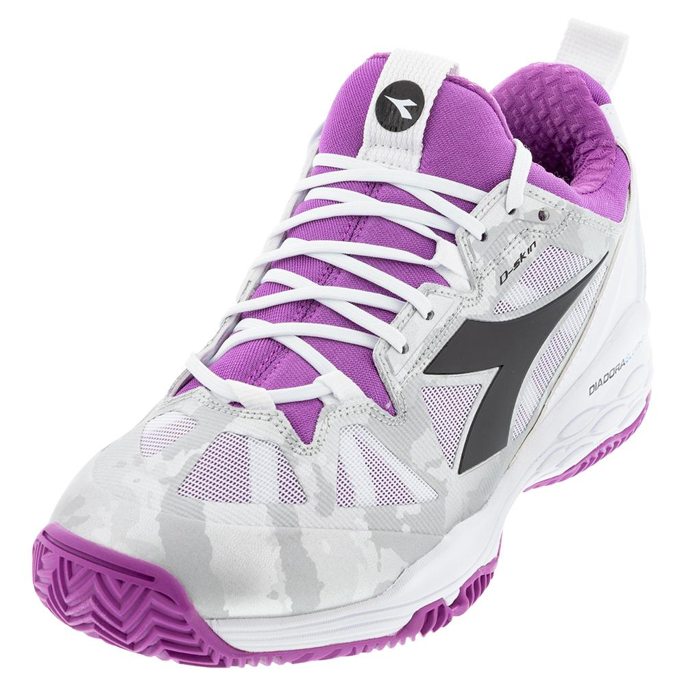 Women's Speed Blushield Fly 2 Clay Tennis Shoes Hyacinth Violet And White
