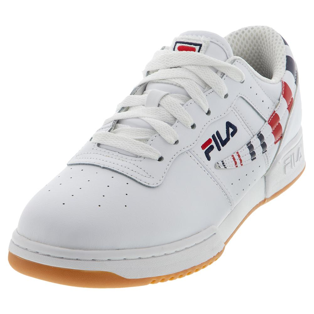 Men's Original Fitness Stripe Shoes White And Navy