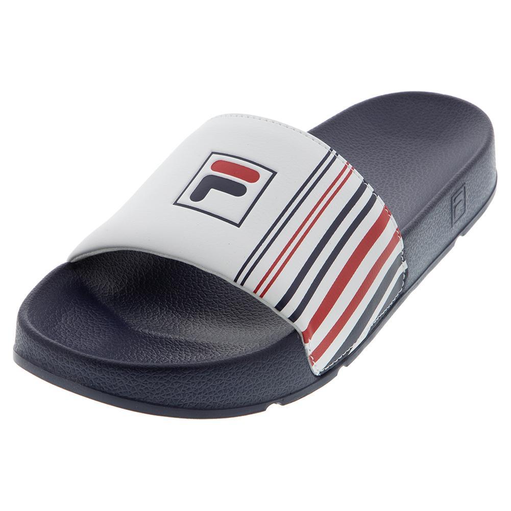 Men's Drifter Stripe Slides Navy And White