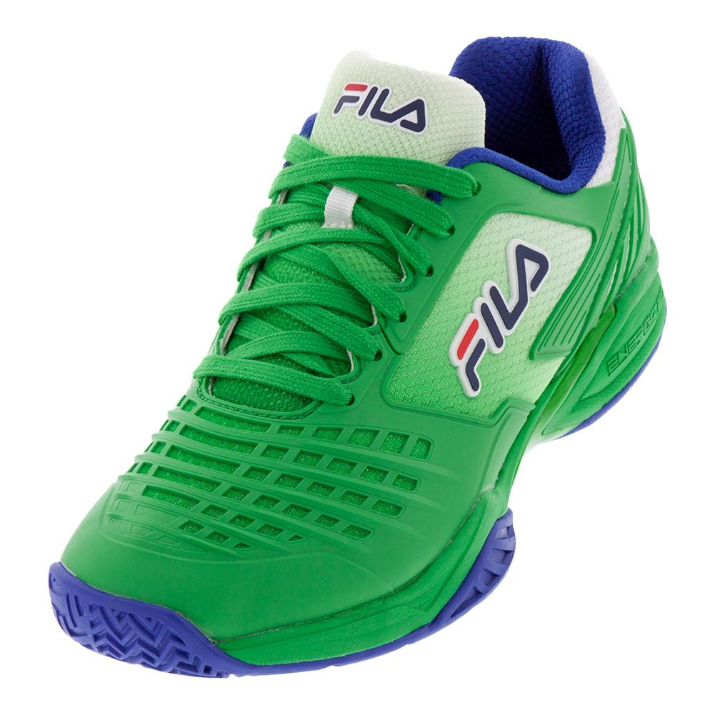 Men's Axilus 2 Energized Tennis Shoes Bright Green, Surf The Web, And Fila Navy