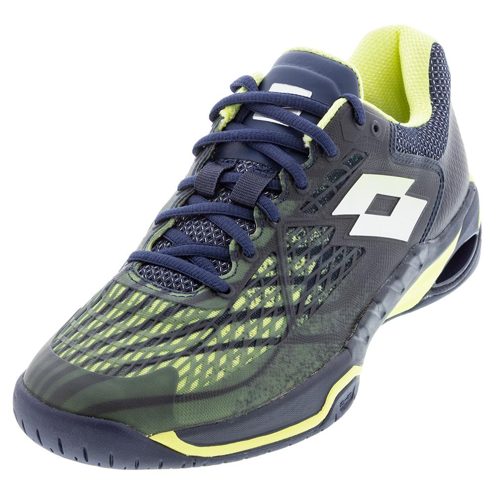 Men's Mirage 100 Speed Tennis Shoes Navy Blue And Yellow Neon