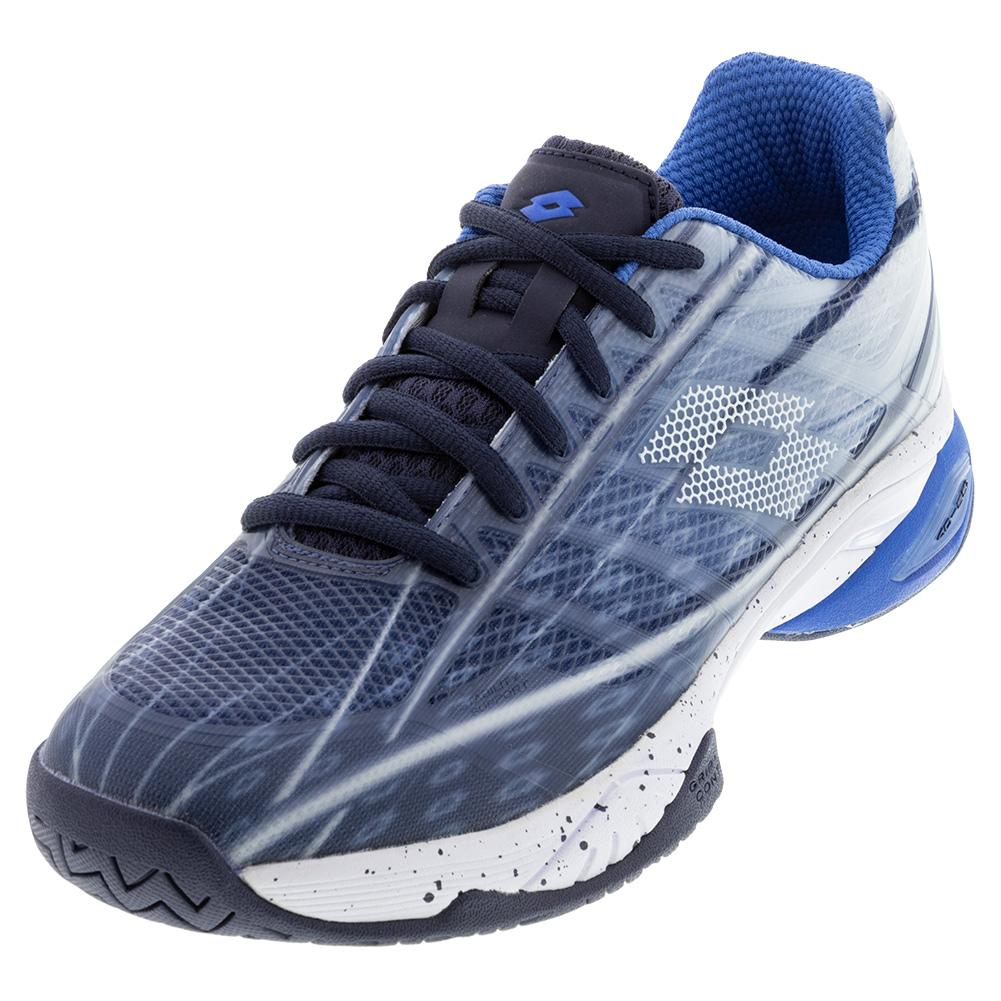 Men's Mirage 300 Speed Tennis Shoes Navy Blue And All White