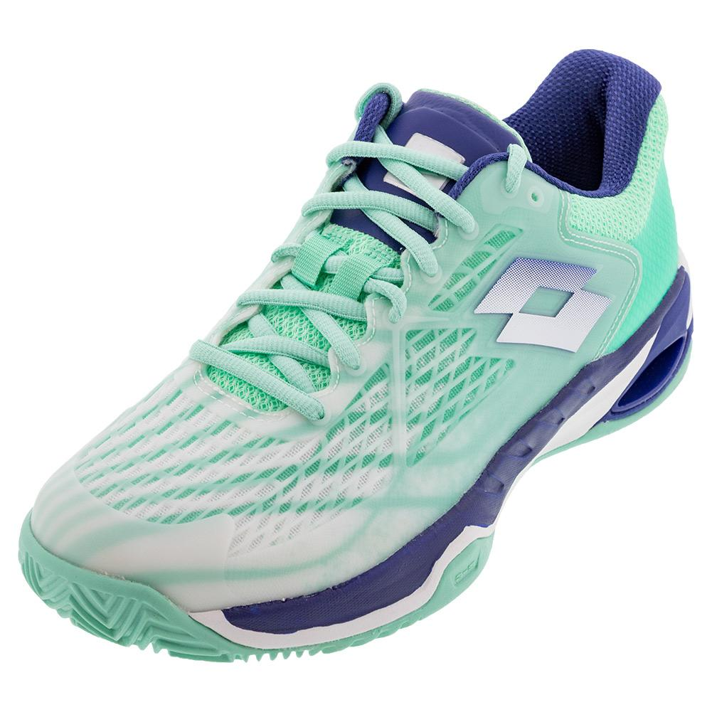 Women's Mirage 100 Speed Clay Tennis Shoes All White And Sodalite Blue