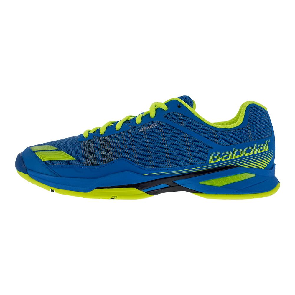 babolat s jet team all court tennis shoe blue yellow
