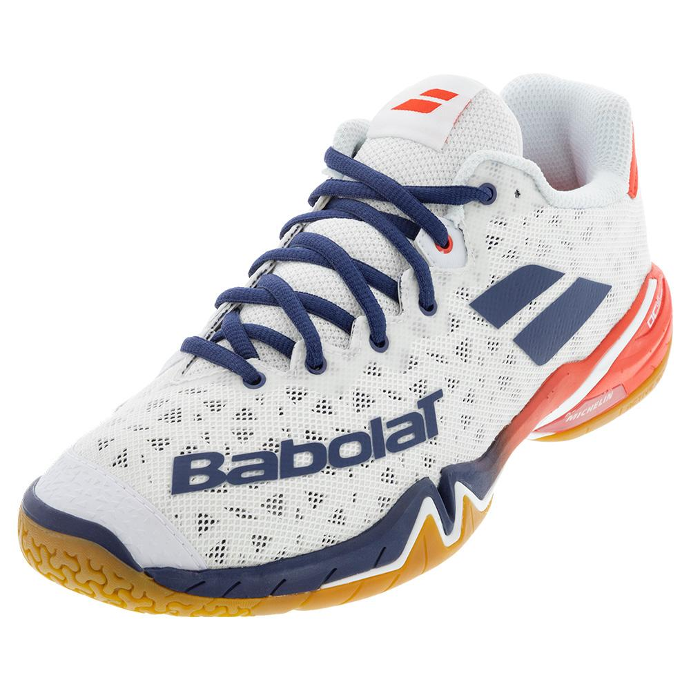 Men's Shadow Tour Badminton Shoes White And Estate Blue