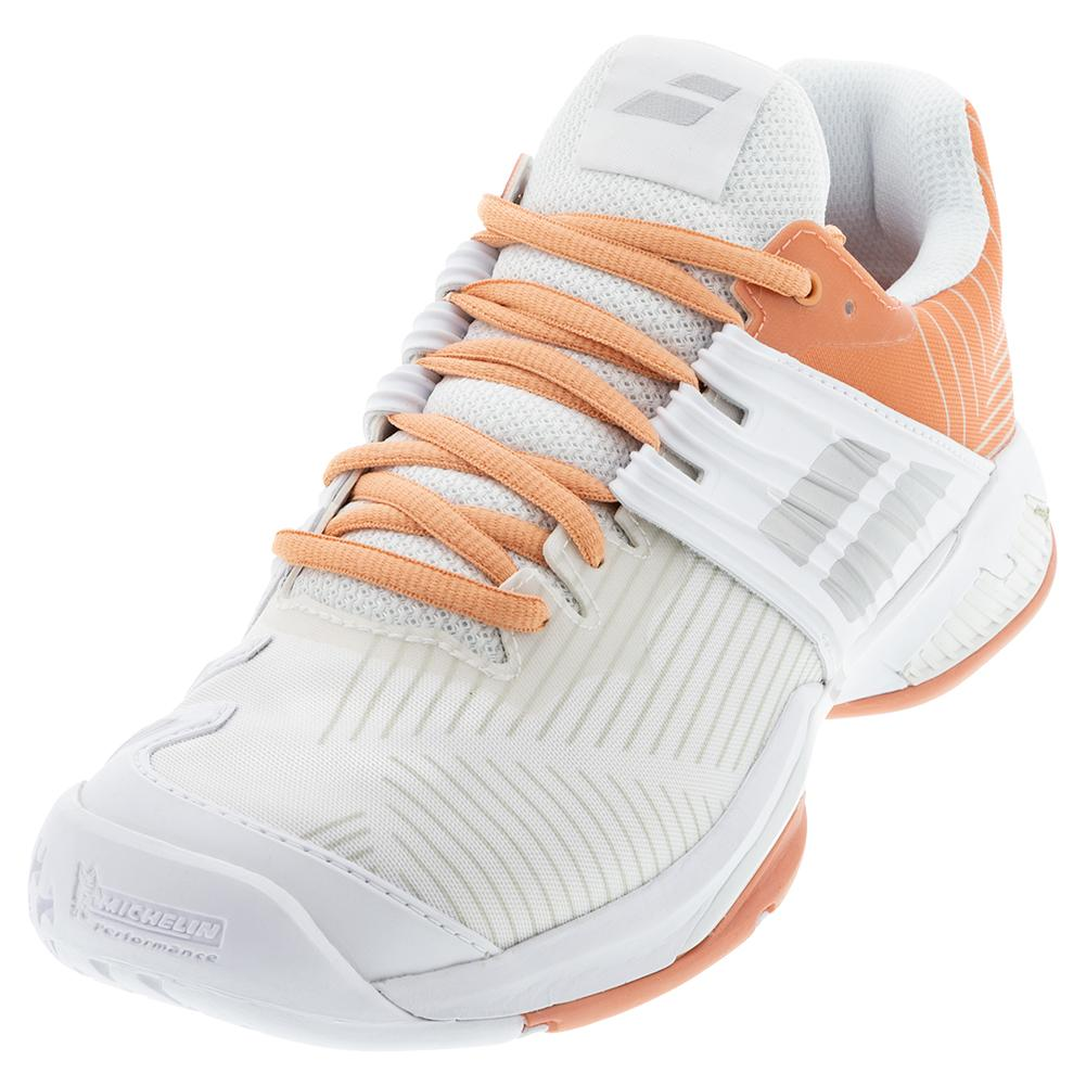 Women's Propulse Fury All Court Tennis Shoes White And Coral