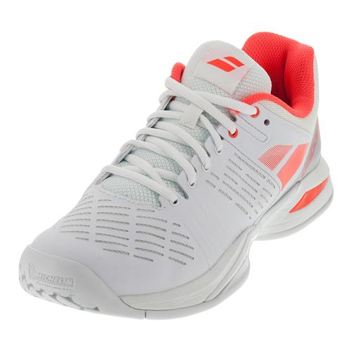 Women's Propulse Team All Court Tennis Shoes White And Fluro Red