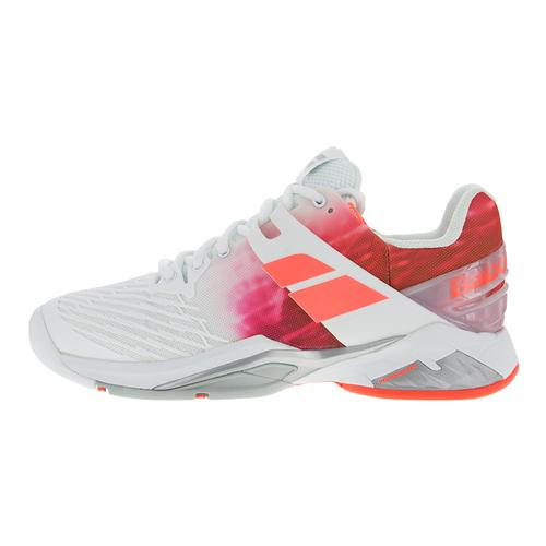 babolat s propulse fury all court shoe white pink