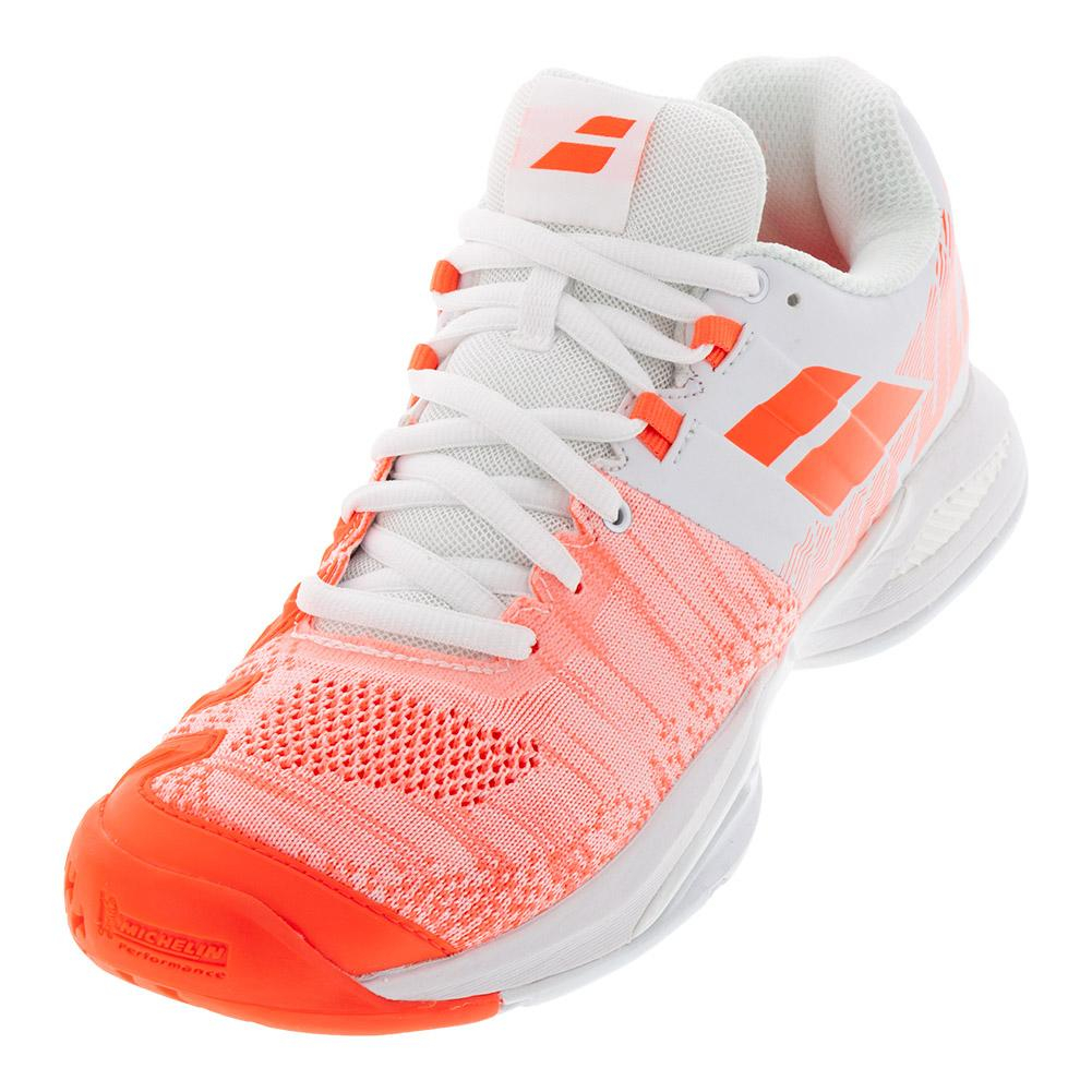 b5a17141544 Women s Propulse Blast All Court Tennis Shoes White And Fluo Strike
